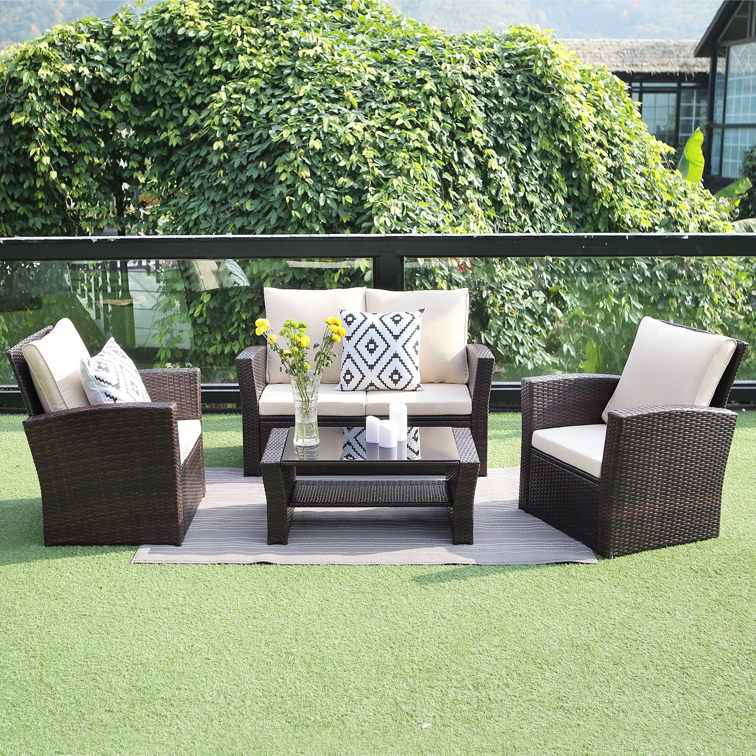 outdoor patio furniture set,wisteria lane 4 piece garden rattan sofa