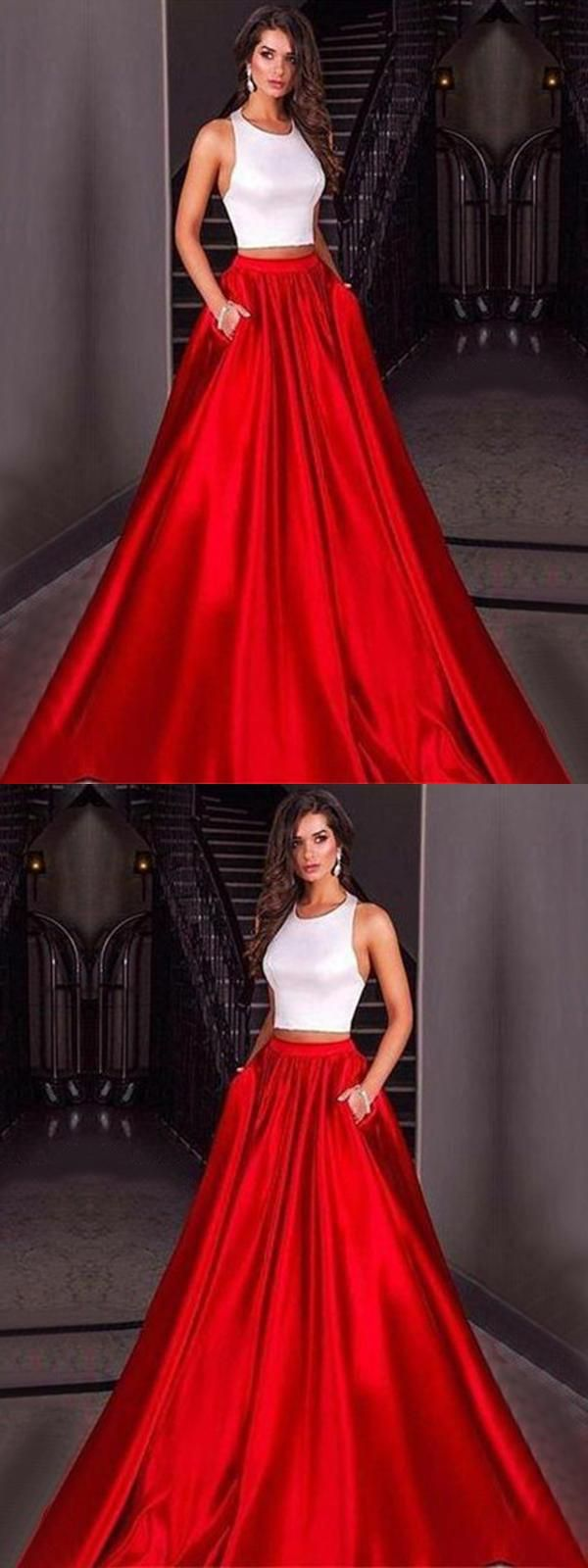 Cheap distinct long prom dresses two pieces prom dresses cheap