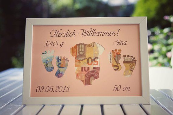 Money gift baby incl. frame