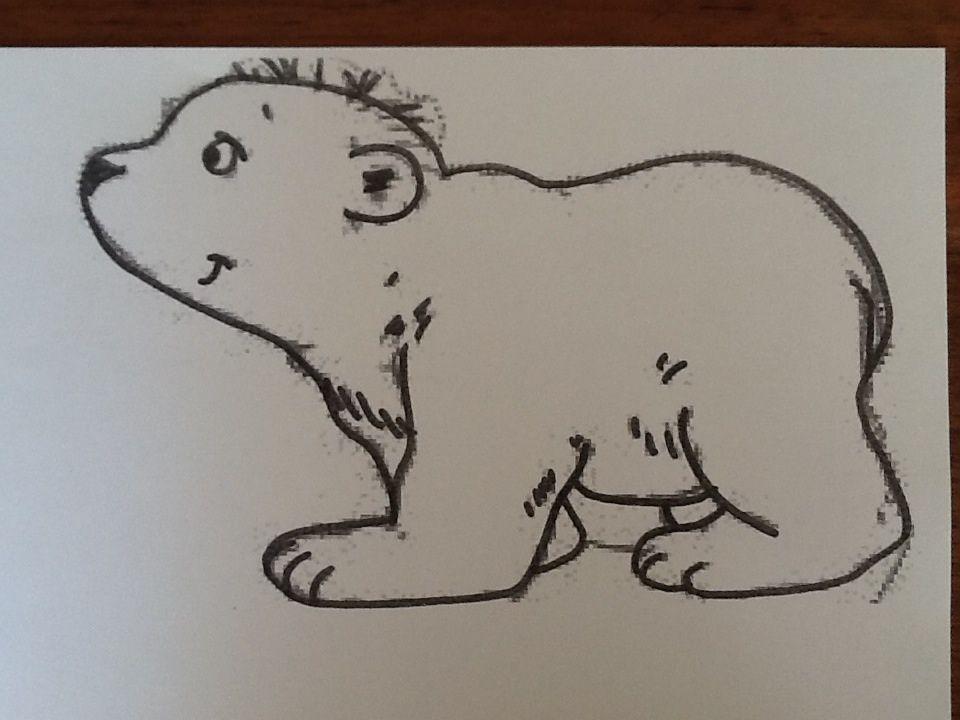 lars de ijsbeer beplakken met wit vilt en daarna plaatsen