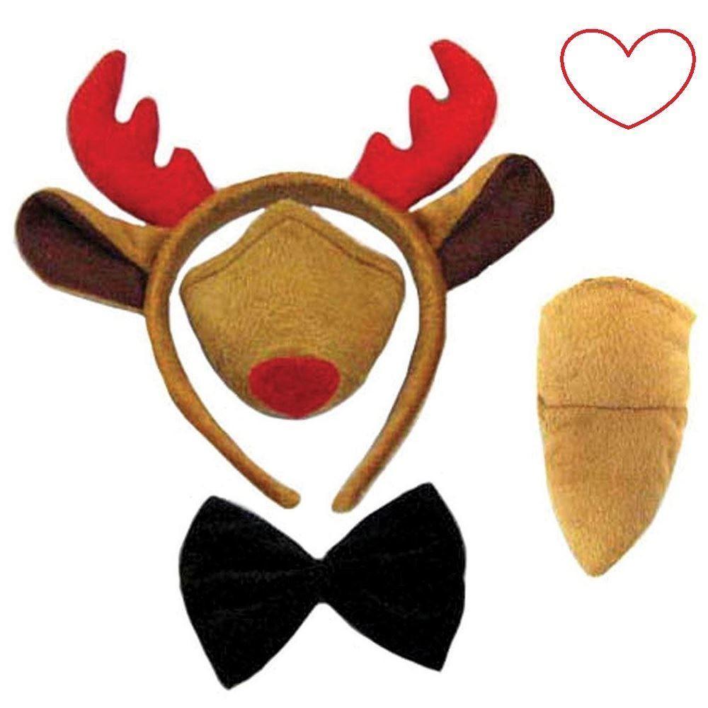 Reindeer Rudolf Fancy Dress Instant Kit With Musical Nose Headband