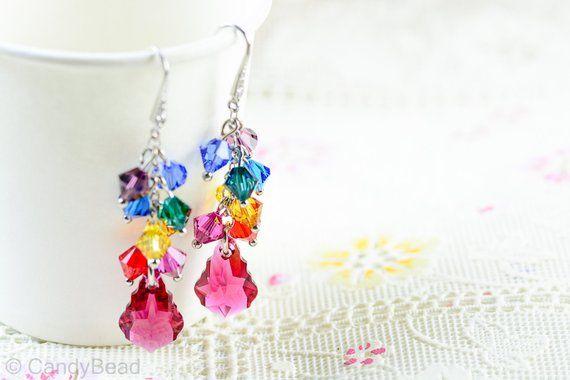 12cf838fb Swarovski earrings;crystal earrings; Spectrum rainbow twisty Swarovski  Crystal by CandyBead (E009-04)