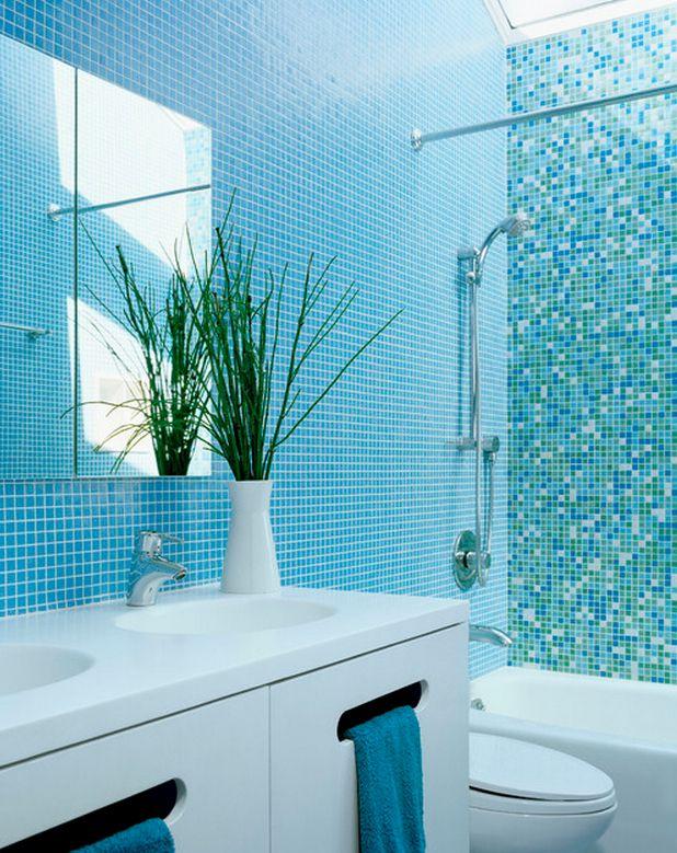 Blue aquamarine and green mini tiles on bathroom wall Small