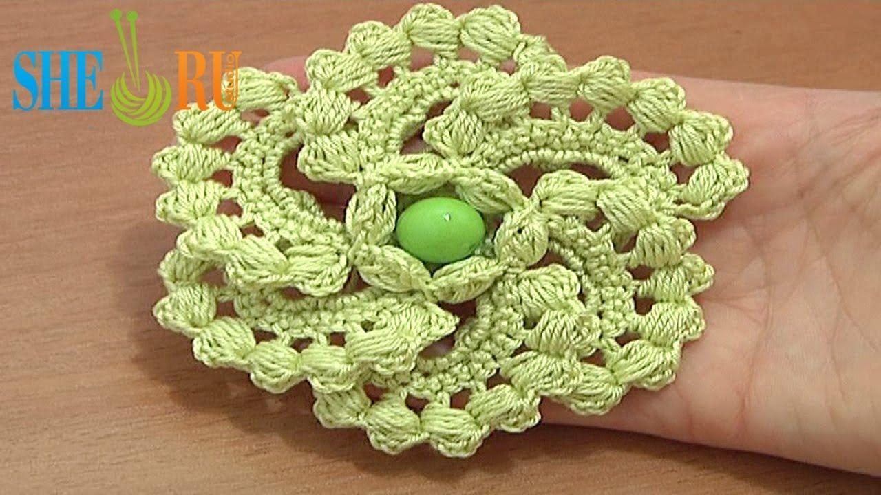 Crochet Spiral 6-Petal Flower Tutorial 60 part 1 of 2 Work Puff ...