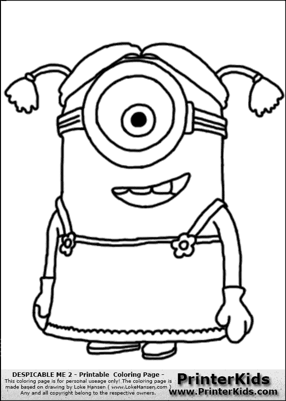 despicable me 2 minion dress and ponytails coloring page