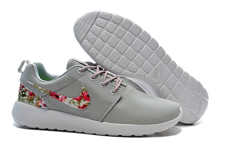 Nike Roshe Women's nike flowers gray white Mesh Shoes - Click Image to Close