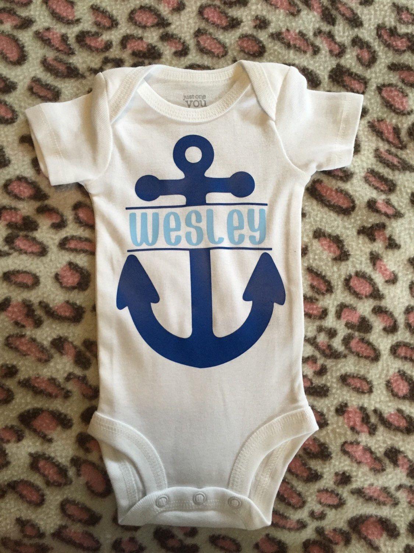 Nautical Personalized Onesie Anchors Away Baby Boy Onesie