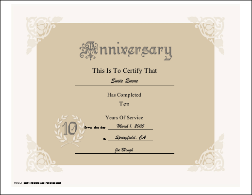 A Lacy Look Certificate Honor  Years Of Service For An Employer