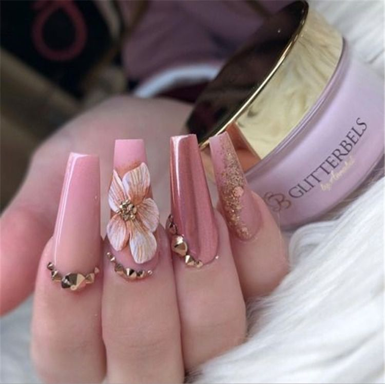 35 2019 Hot Fashion Coffin Nail Trend Ideas Uñas Pedreria