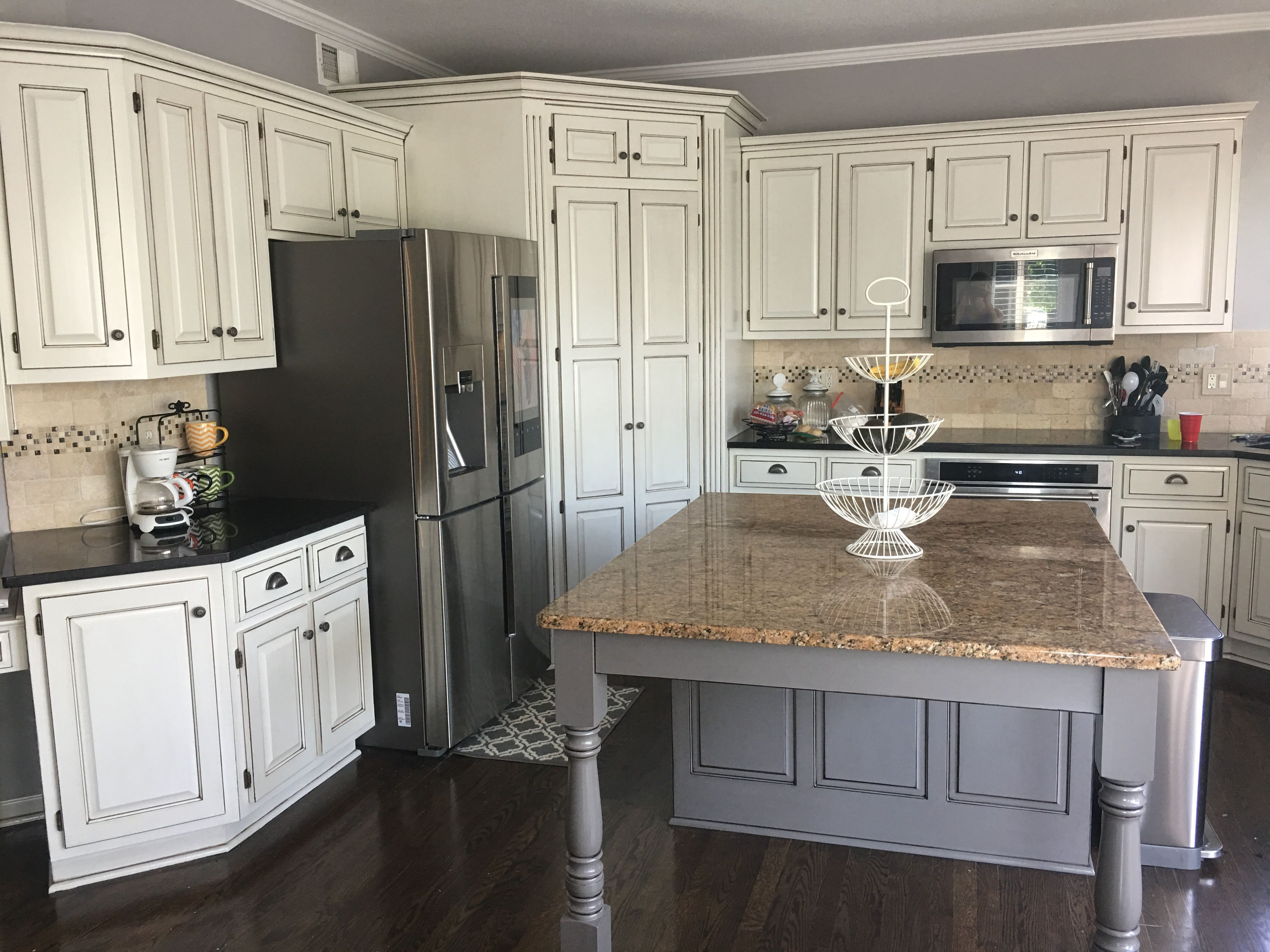 kitchen remodel glazed white cabinets black granite with grey island hardware ordered from on kitchen cabinets grey and white id=94096