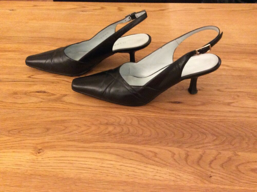 reasonable price clearance sale uk availability Ladies Size 5 Black Sling Back Kitten Heel Shoes Barratts Leather ...