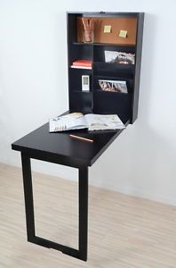 fold up wall mounted desk table space saver computer hanging rh pinterest com