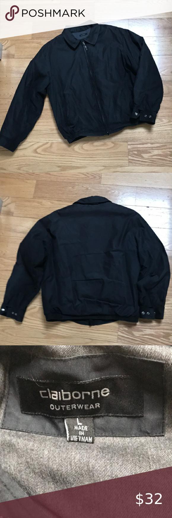 Claiborne Jacket Coat Sz L Euc Black Claiborne Outerwear Microfiber Coat Size Large In Excellent Used Con Brown Jacket Men Coats Jackets Vintage Leather Jacket [ 1740 x 580 Pixel ]
