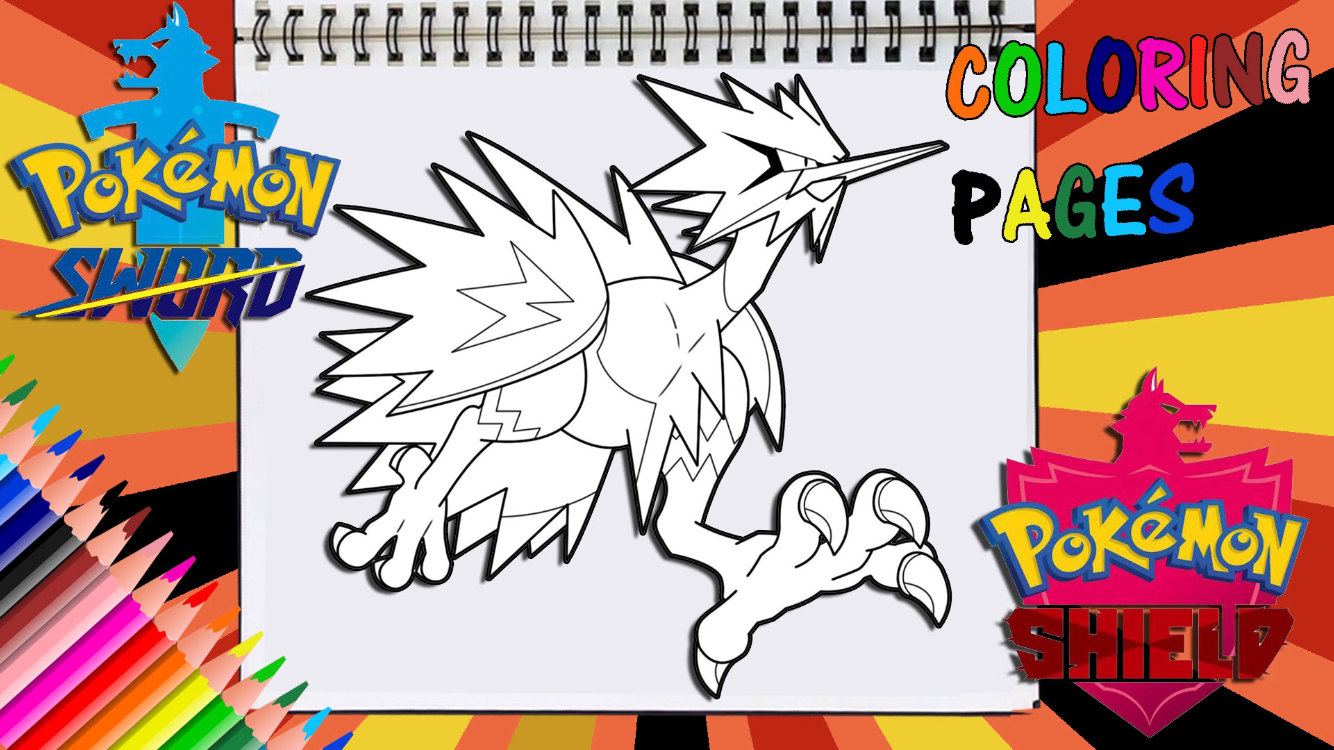 Pokemon Sword And Shield Legendary Galarian Zapdos Coloring Page Pokemon Pokemon Fan Art Coloring Pages