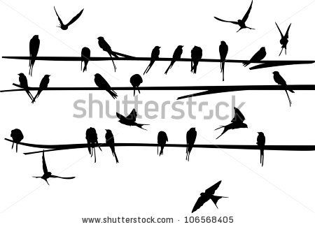 Swallow stand and fly around the branch - stock vector