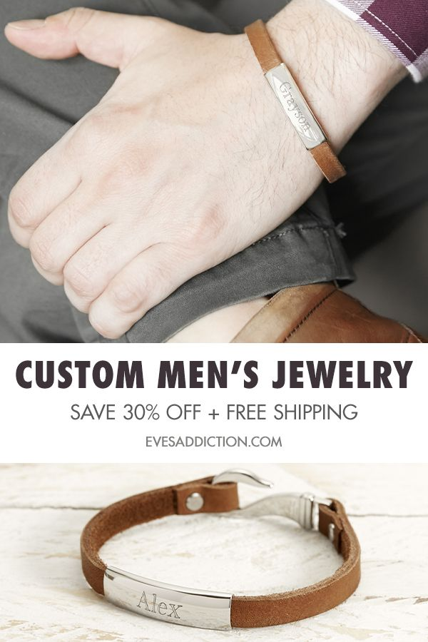 190de35edbb9d3 Find custom gifts for him and save 30% with free shipping at  EvesAddiction.com. From engravable men's bracelets to custom rings and  wedding bands, ...