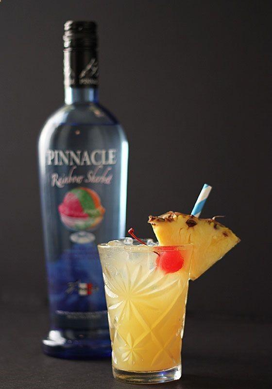 Rainbowsicle: 1 part Pinnacle Rainbow Sherbet Vodka, 1 part triple sec, 1 part pineapple juice. Yum!
