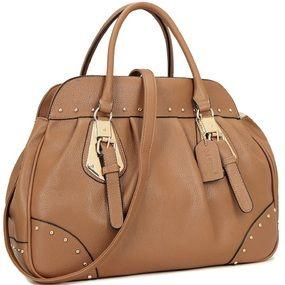 7769a22e2f Large Faux Leather Studded Satchel Purse