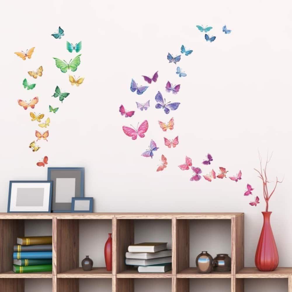Watercolour butterflies peel and stick nursery kids wall decals