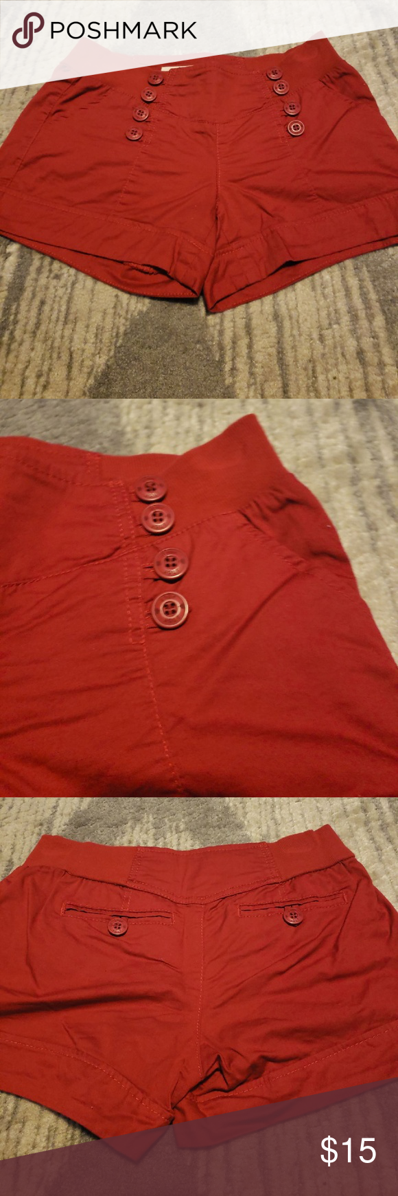 Red Sailor Shorts Red pull on sailor shorts.  Size 5.  These pull on the buttons are just decoration...