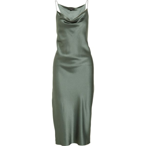 Alexander Wang Brushed-silk dress (€220) ❤ liked on Polyvore featuring dresses, gray green, green cocktail dress, grey cocktail dress, twist dress, grey silk dress and loose fitting dresses