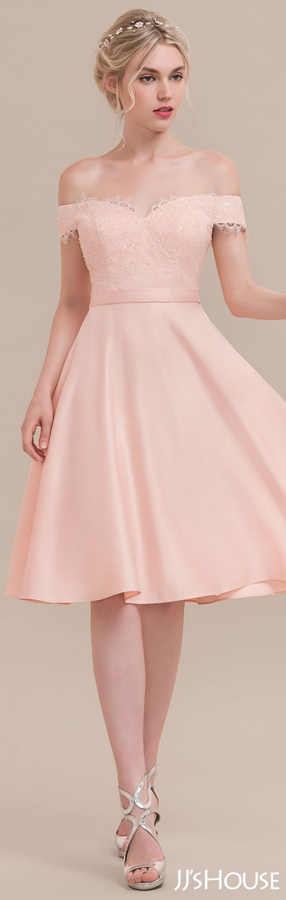 A-Line/Princess Off-the-Shoulder Knee-Length Satin Cocktail Dress ...