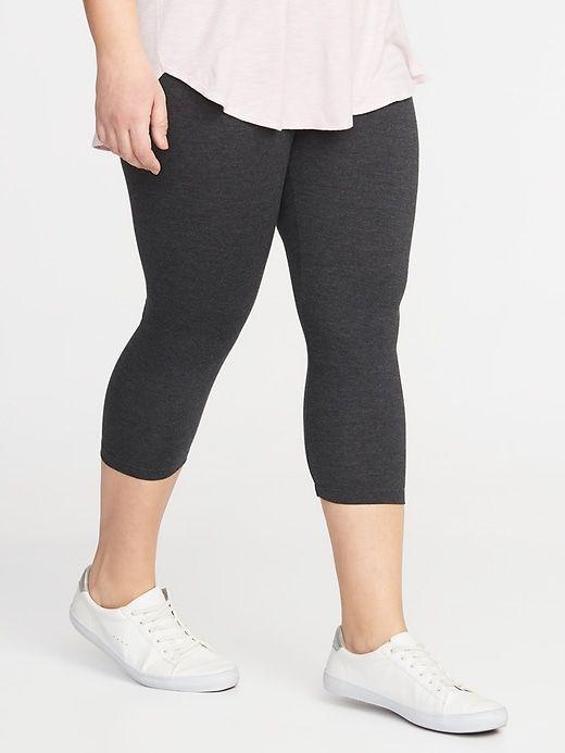5f721d4dfc3c39 Old Navy Women's Cropped Jersey Plus-Size Leggings Dark Heather Gray Size 3X