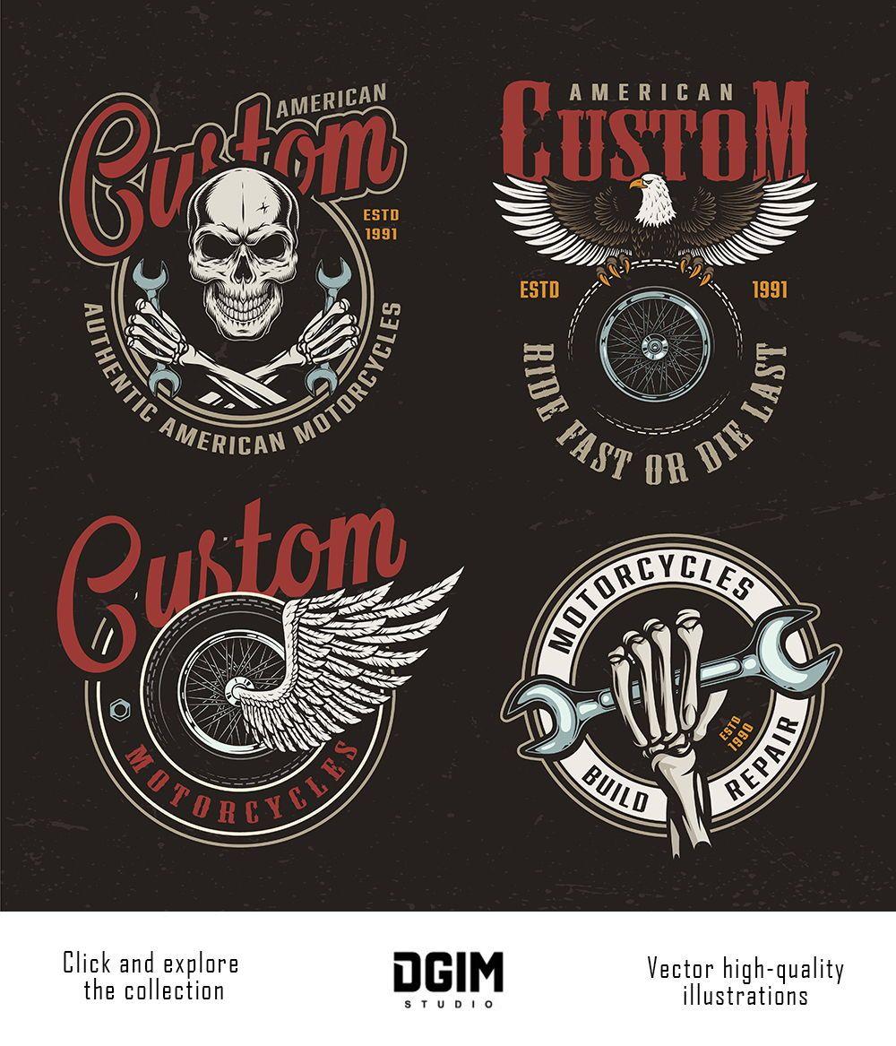 37 Vintage Custom Motorcycle Emblems Biker Logo Design Retro Logo Design Typography Branding
