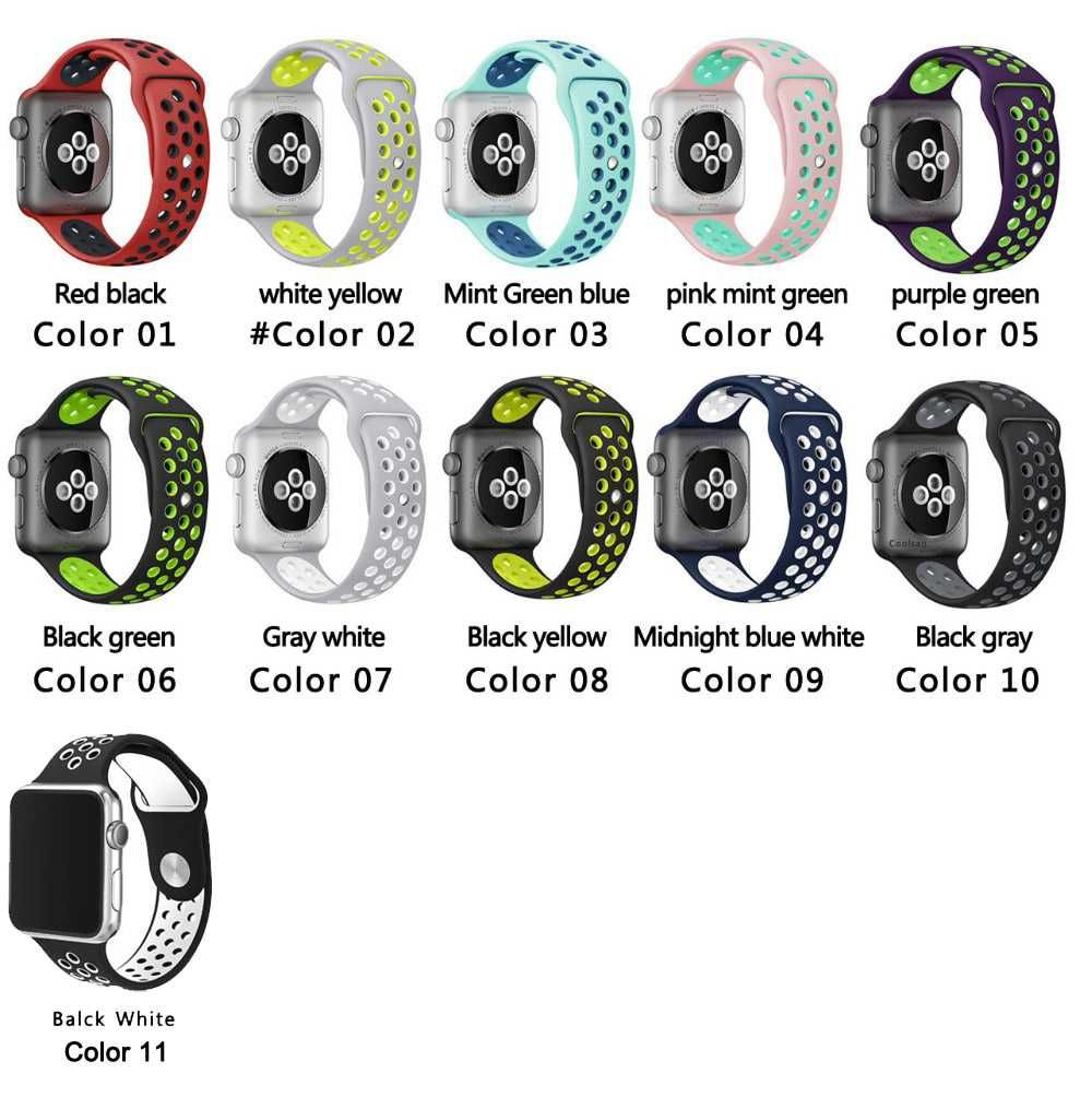 90a25e31c Brand Silicon Sports Band Strap for Apple Watch Nike 38/42mm 1:1 Original  Black/Volt Black/Gray Silver iwatch watchbands FOHUAS-in Watchbands from  Watches ...