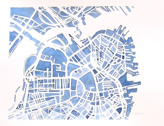 Boston City Map Original Watercolor 8x10 Modern Grid City Landscape Blueprint Watercolor Map Map Painting Blueprint Art