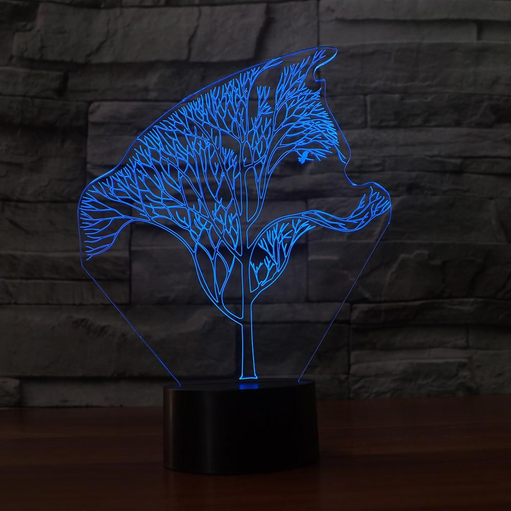 Creative 3d Twig Wolf Shape Personality Multi Colored Night Light Holiday Gift 7 Changing Colors Led Lamp Night Light Led Color Creative