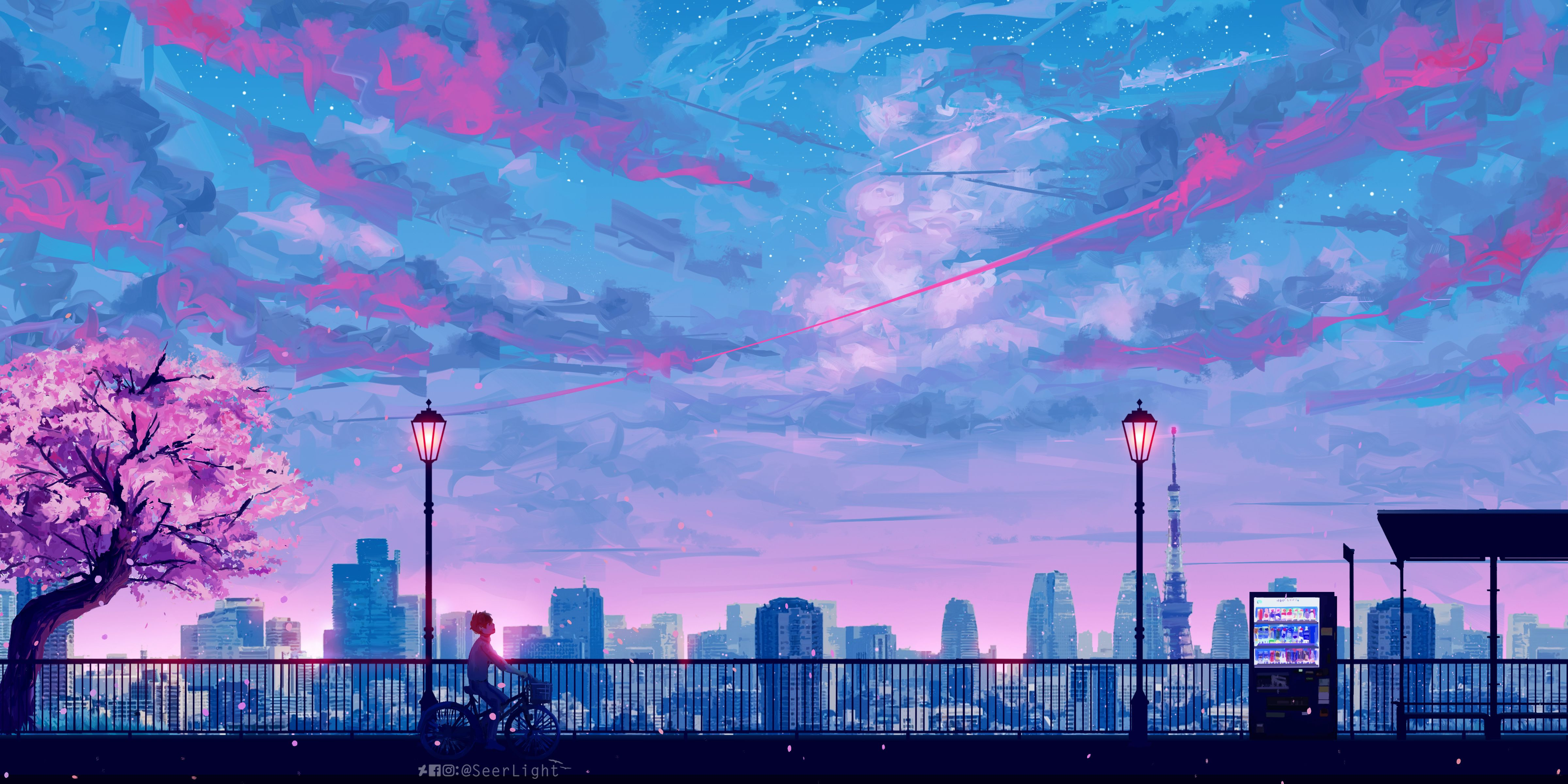 Downaload Lets Go Home Cityscape Bicycle Ride Sunset Clouds Art Wallpaper 4800x2400 Cityscape Wallpaper Scenery Wallpaper Landscape Wallpaper Anime wallpaper city sunset