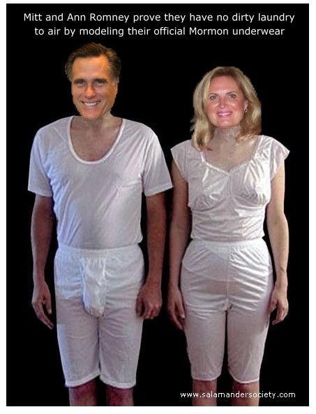 5a6d7ed1fd4d Mormon magic underwear as worn by Anne and Mitt Romney of the Republican  Party GOP