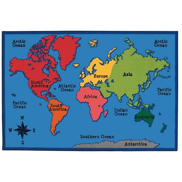 World Map Kids Value Rug - Rectangle - 4'W x 6'L in 2019 ... on