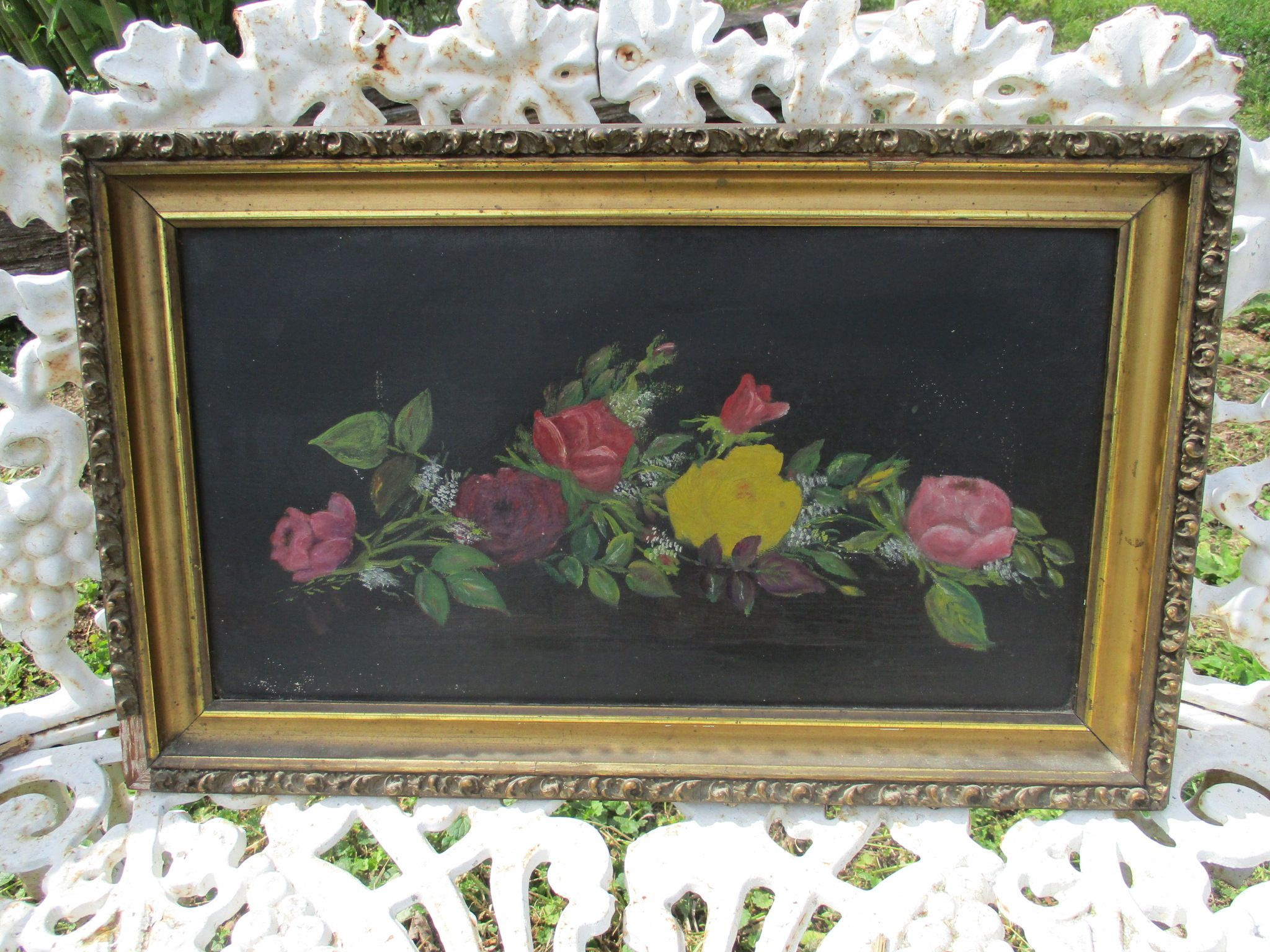 Free ship antique ornate gold gesso framed still life floral roses free ship antique ornate gold gesso framed still life floral roses spray oil on canvas painting victorian period picture frame x by treasuretrovemarket on jeuxipadfo Image collections