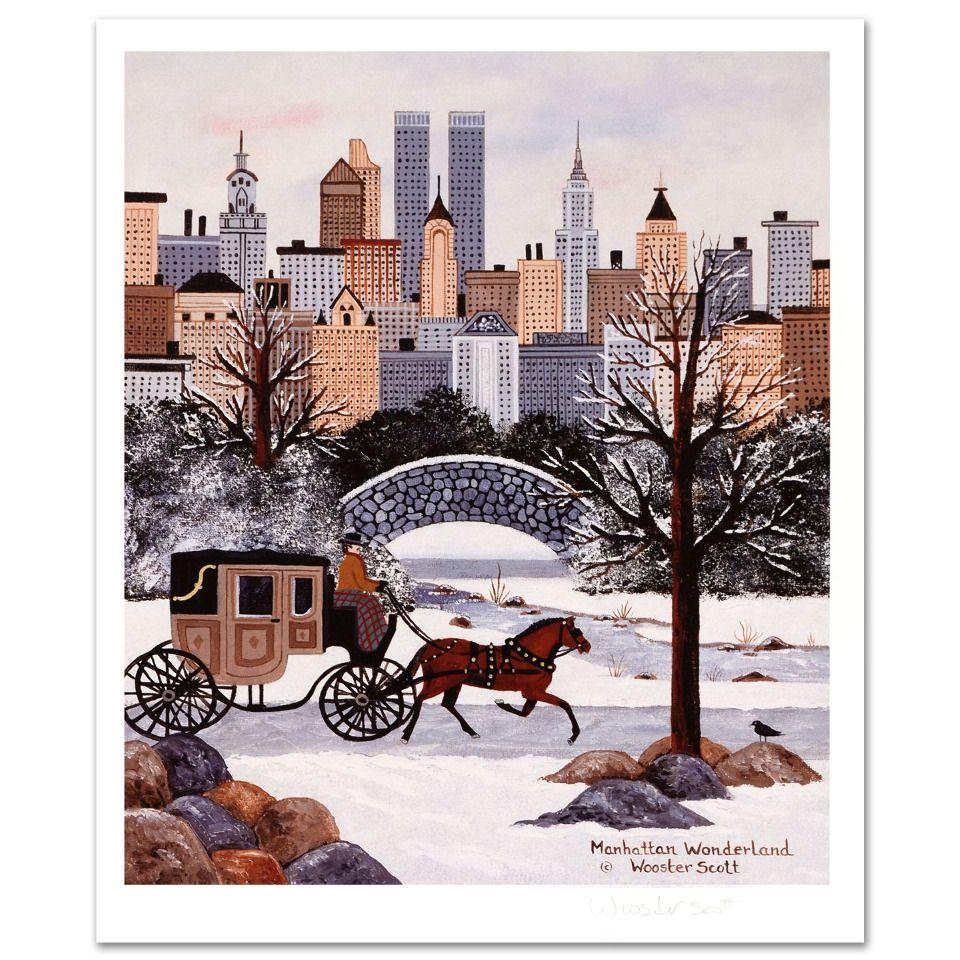 """Jane Wooster Scott /""""Manhattan Wonderland/"""" Limited Edition Lithograph on Paper"""