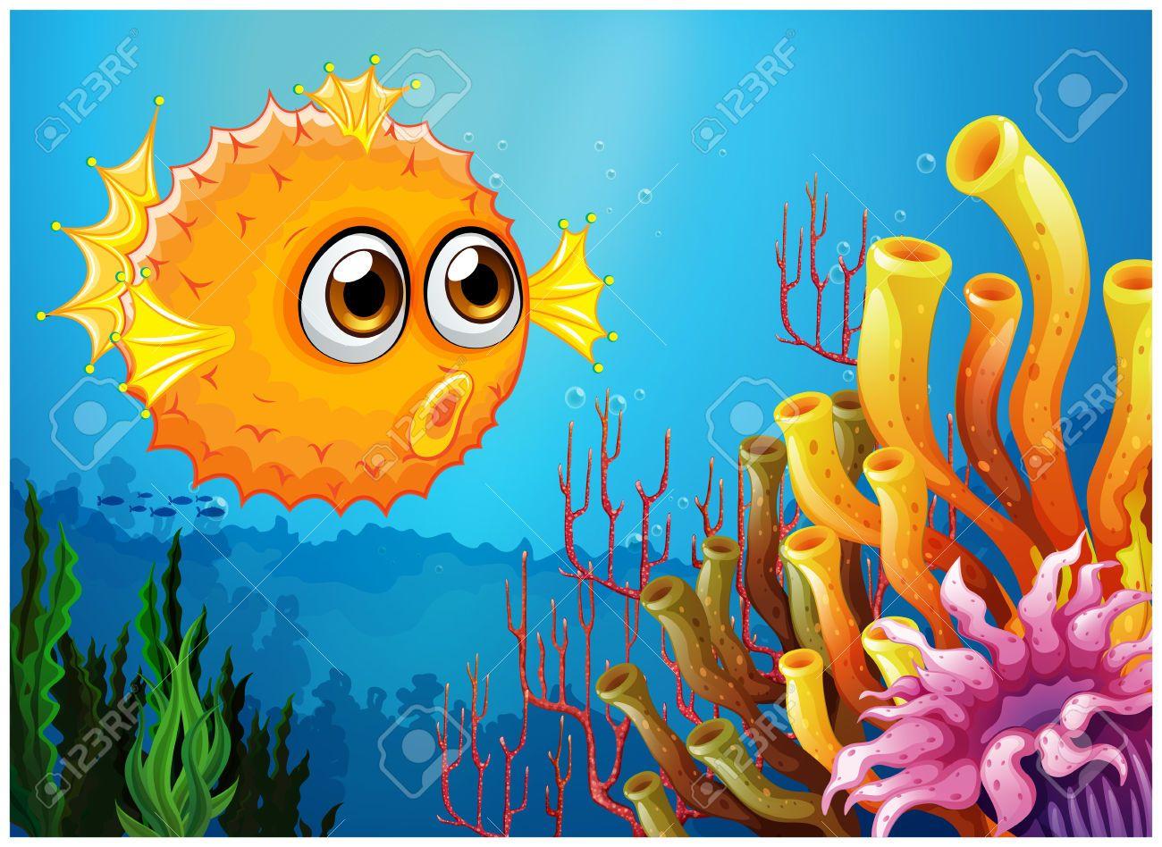 Ilustración de un pez globo, cerca de los arrecifes de coral ...
