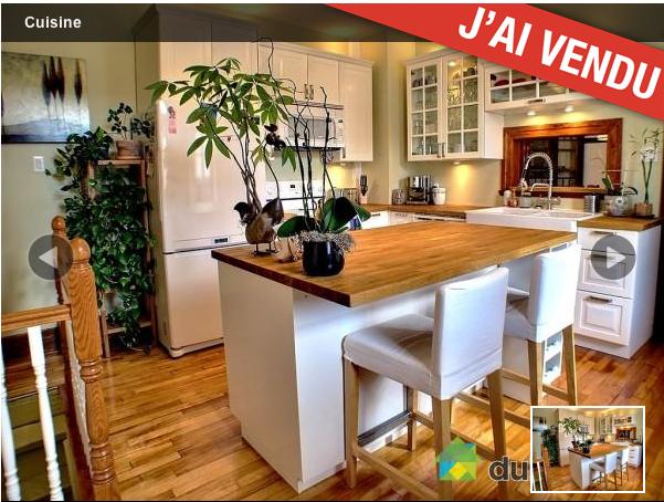 blanc et bois ilot avec comptoir lunch cuisine salle. Black Bedroom Furniture Sets. Home Design Ideas