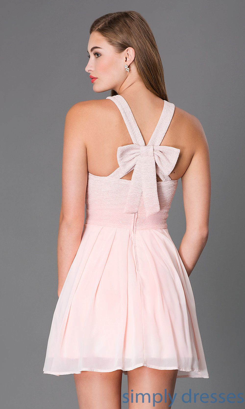 90485efd539 Shop sleeveless blush pink short glitter print cocktail dresses at  SimplyDresses. Semi formal prom dresses with high necks and back bows.