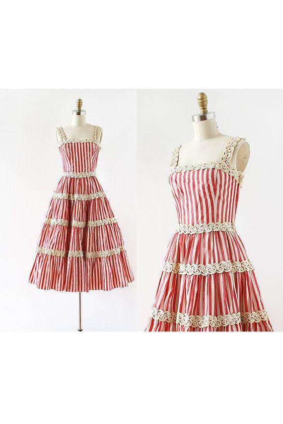 1940s dress / Candy Stripes Party Dress / by LantanaVintage, $228.00