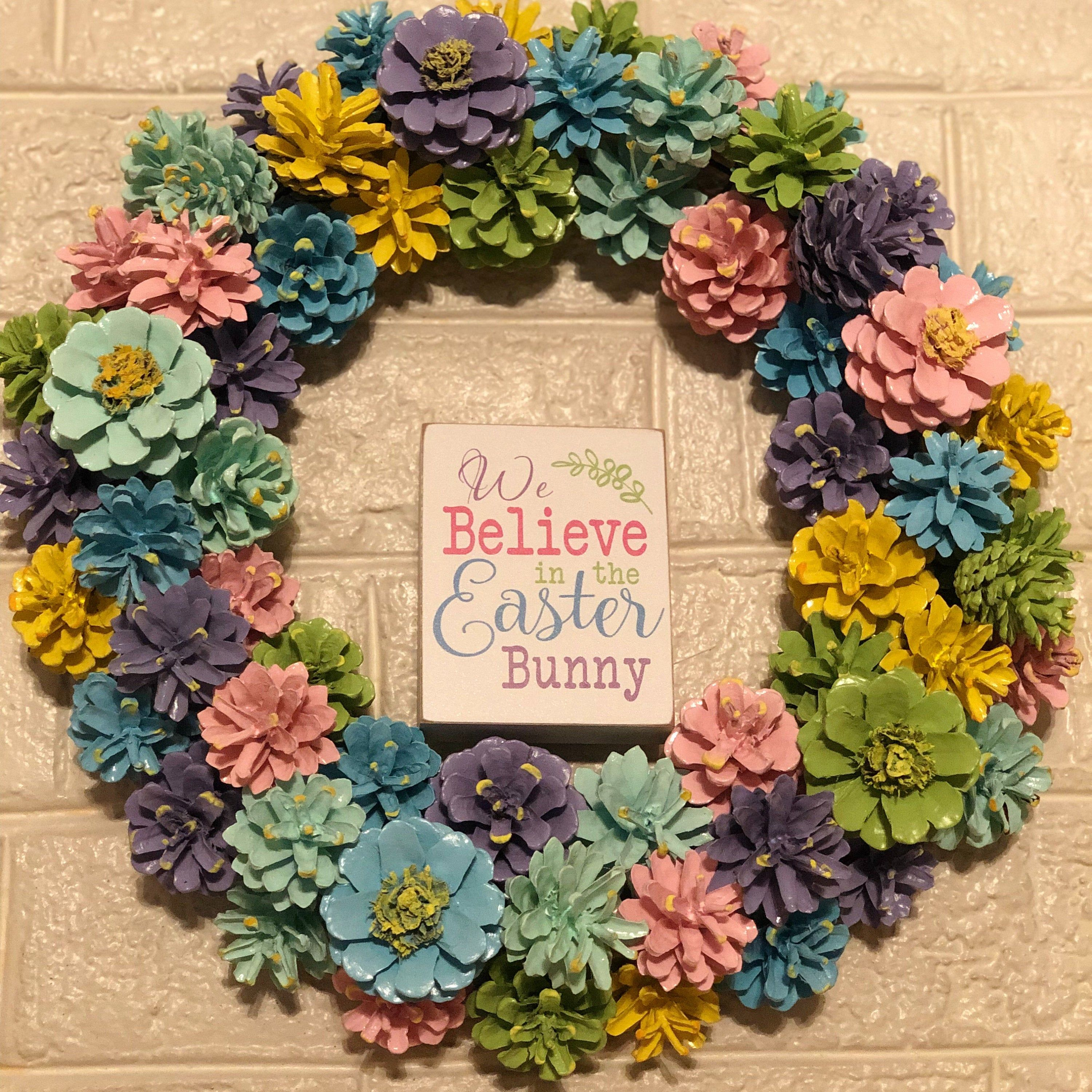 Pine Cone Wreath, Pastels. High quality. Unique wreath with painted pine cones and a few Pine cone flowers. Easter, spring.
