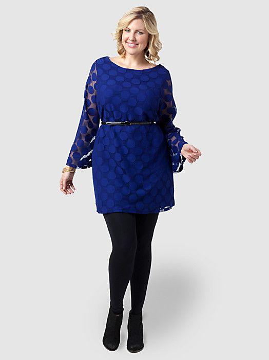 cbd7e056e21 Plus size Long-Sleeve Polka-Dot Dress
