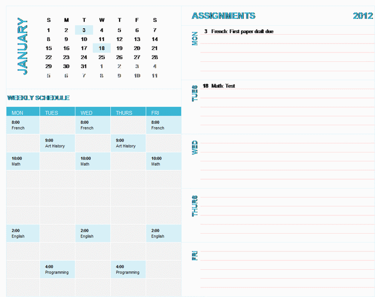 This 12-month, student-focused calendar wizard has separate tabs for each month and built-in functionality that allows you to set the year for weeks starting on Sunday. You can use the scroll buttons to quickly select a year from 1900 to 2999. It has space on each tab for tracking weekly school assignments and class schedules. Dates on the calendar highlight automatically via conditional formatting and based on assignment due dates.