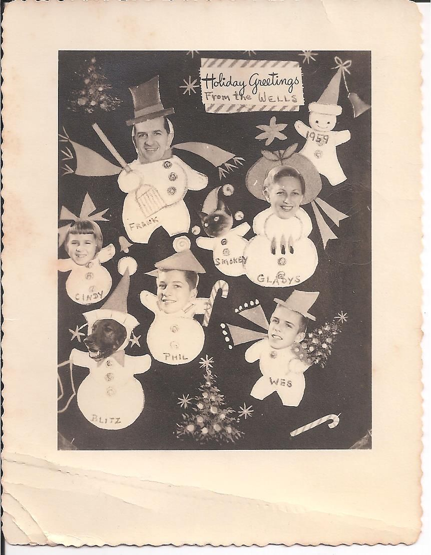 Vintage B W Photo Silly Snowman Christmas Holiday Greetings Wells