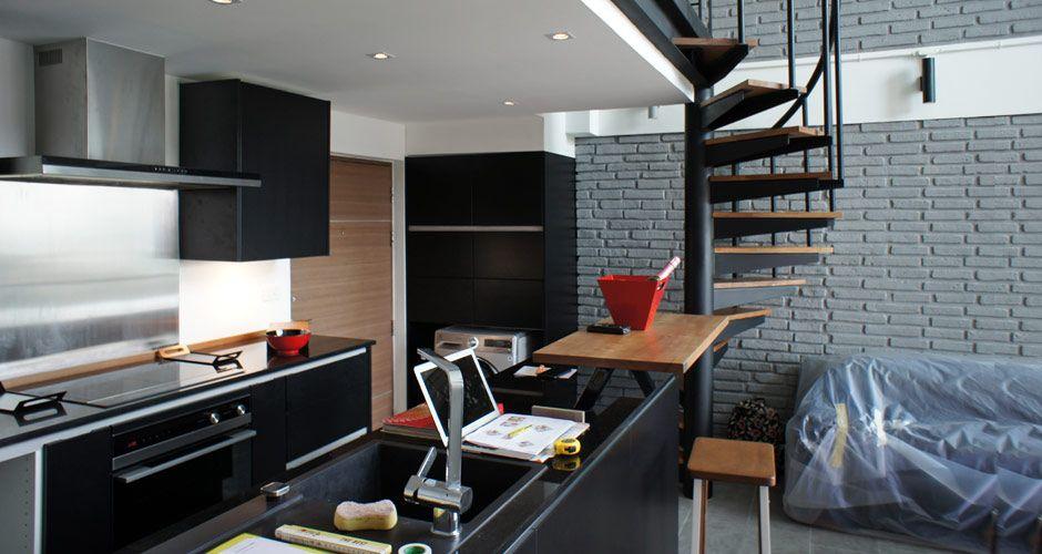 Best Duplex Loft In Bangkok Living Room Spiral Stair Kitchen 400 x 300