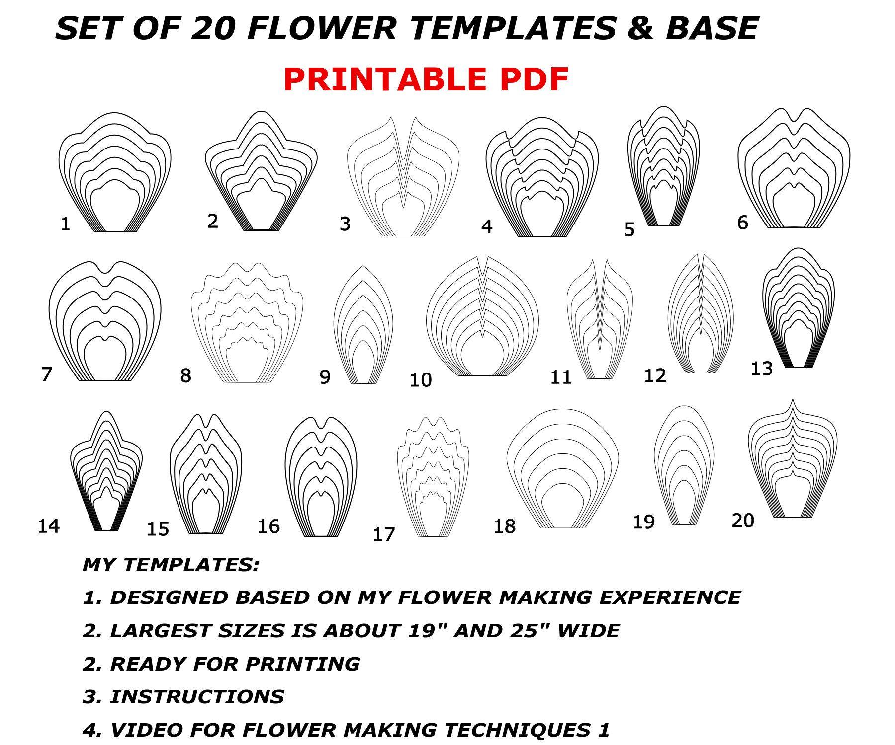 Printable Flower Template Bundles, Paper Flower Templates