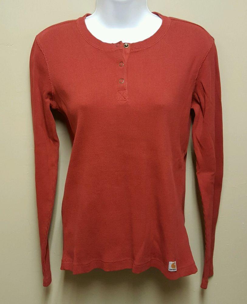 Carhartt for Women MEDIUM Red Long Sleeved Knit Top T Shirt Crew Neck Ribbed #Carhartt #BasicTee