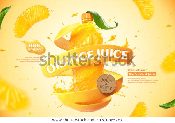 Orange Bottle Juice Ads Splashing Liquid Stock Vector Royalty Free 1610865787 Juice Ad Splashing Liquid Juice
