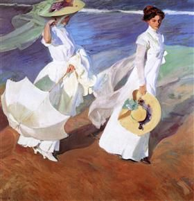 Promenade by the Sea - Joaquín Sorolla
