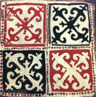 Antique 19th century Uzbek or Kirghiz square felt hanging. Beautiful Colours. Mint condition. The size is 70cm X 70. Offered reasonable price.